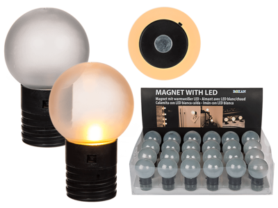 Ball with magnet & warm white Led,