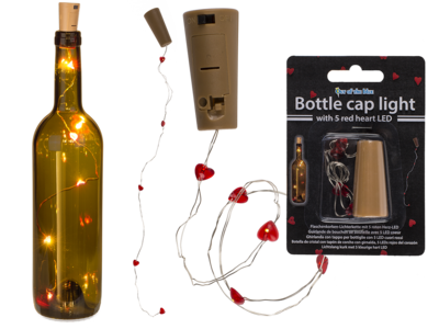 Bottle cap light with 5 red heart LED (including,
