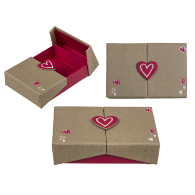 Box a sorpresa color naturale, Cuore,
