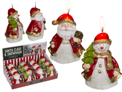 Candle, Santa Claus & Snowman assorted,
