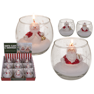 Candle in glass, Snowman and Santa,