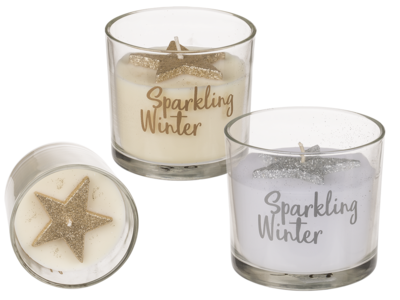 Candle in glass, with glitter star,