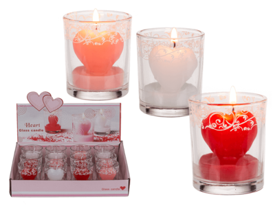 Candle in glass with decor, heart,