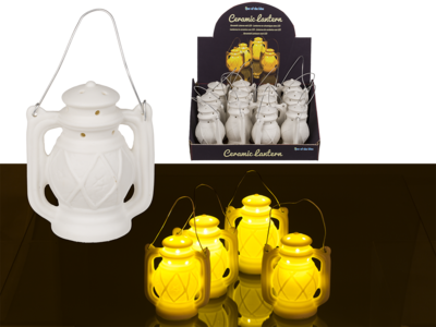Ceramic lantern with LED (incl. battery),