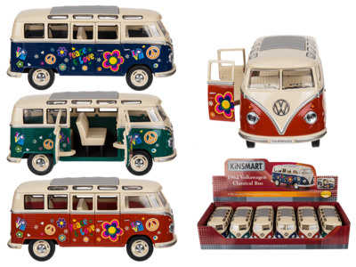 Coche de metal, VW T1 Bus 1962 - Flower Power,