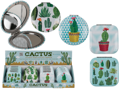 Double sided pocket mirror, Cactus,