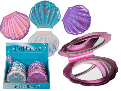 Double sided pocket mirror, Metallic Shell,