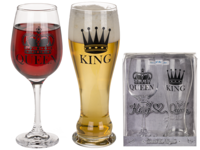 Drinking glass set, King & Queen,