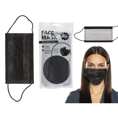 Face Mask, black, 3 layers, one size,