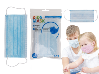 Face Mask for children, blue, 3 layers,