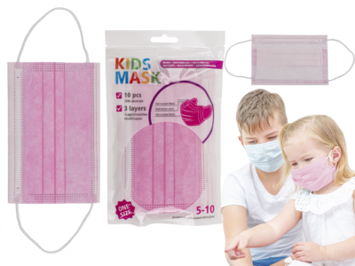 Face Mask for children, pink, 3 layers,