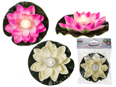 Floating water lily with warm white LED,