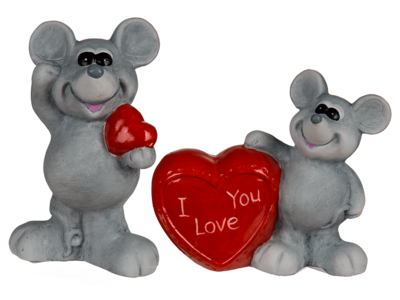 Grey ceramic mouse with red heart, standing,