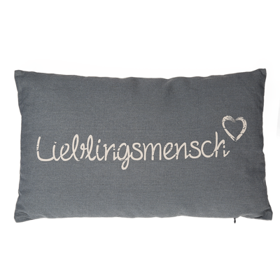 Grey coloured decoration cushion, Lieblingsmensch,