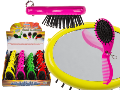 Hairbrush with integrated comb & mirror,