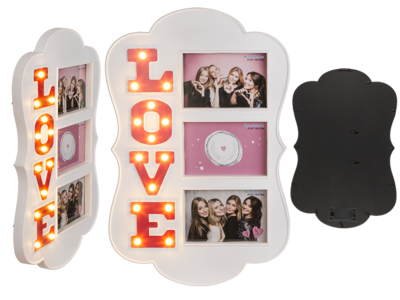 Illuminated plastic photo frame, Love,