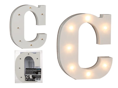 Illuminated wooden letter C, with 7 LED,