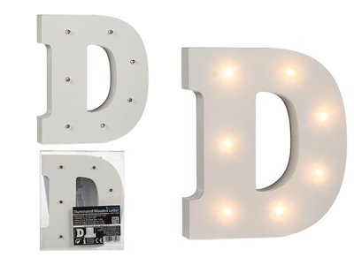 Illuminated wooden letter D, with 7 LED,