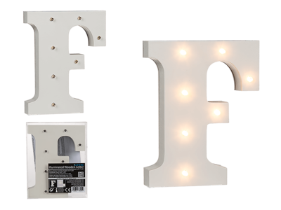 Illuminated wooden letter F, with 7 LED,