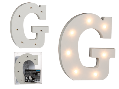 Illuminated wooden letter G, with 7 LED,