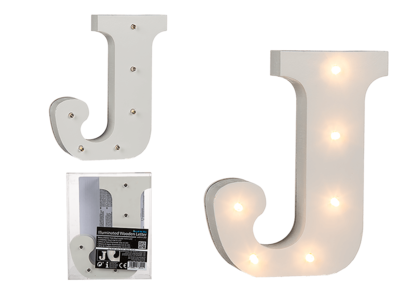 Illuminated wooden letter J, with 6 LED,