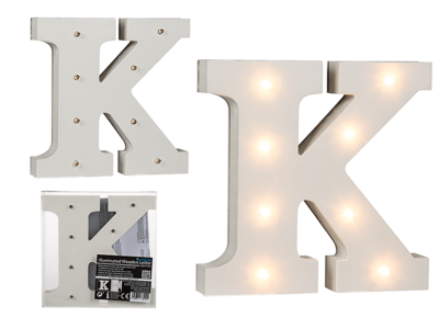 Illuminated wooden letter K, with 8 LED,