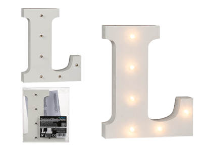 Illuminated wooden letter L, with 6 LED,
