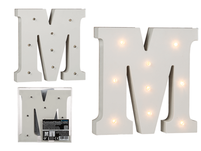 Illuminated wooden letter M, with 9 LED,