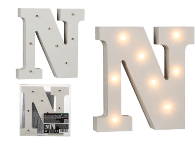 Illuminated wooden letter N, with 8 LED,