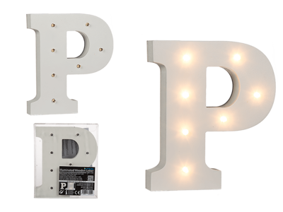 Illuminated wooden letter P, with 7 LED,