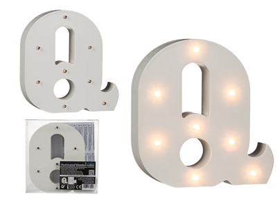 Illuminated wooden letter Q, with 8 LED,