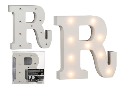 Illuminated wooden letter R, with 9 LED,