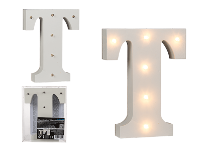 Illuminated wooden letter T, with 6 LED,