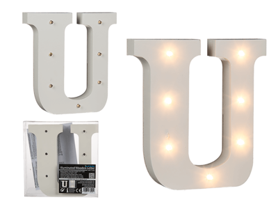 Illuminated wooden letter U, with 7 LED,