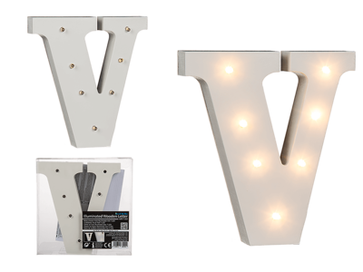 Illuminated wooden letter V, with 7 LED,