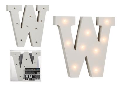 Illuminated wooden letter W, with 9 LED,