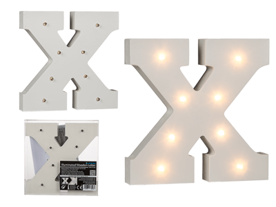 Illuminated wooden letter X, with 8 LED,