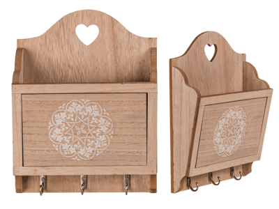 Natural coloured wooden key box with 3 hooks &,