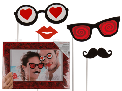 Party photo accessories on stick with frame,