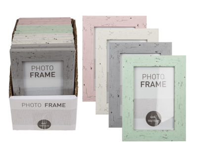 Pastel coloured plastic photo frame in wooden,
