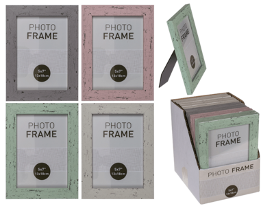 Pastel-Coloured Plastic Photo Frame in Wooden,