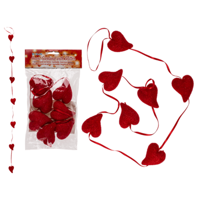 Plastic garland, Heart with glitter,