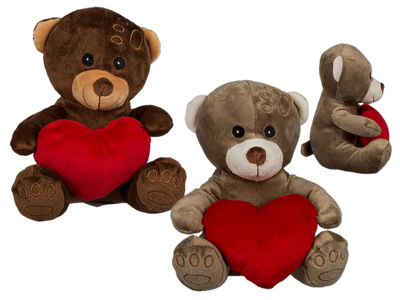 Plush bear with red heart,