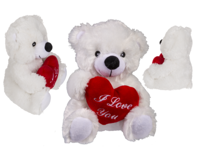 Plush bear with red heart, I love you,