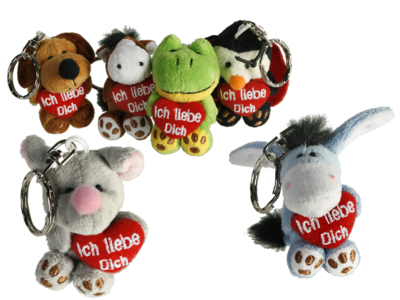 Plush keyring, Animals with red heart,
