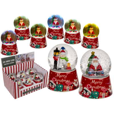 Polyresin snow globe with Christmas figurines &,