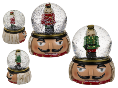 Polyresin snow globe with nutcracker,