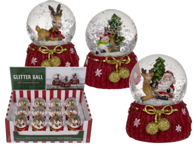 Polyresin snow globe with Reindeer & Santa,
