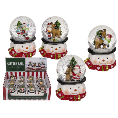 Polyresin snow globe with Santa & Reindeer,