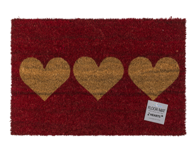 Red coloured floor mat, with 3 hearts,